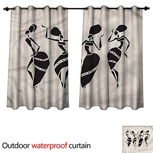 (cobeDecor Tribal Outdoor Curtains for Patio Sheer Woman Figure African Costume W55 x L45(140cm x)