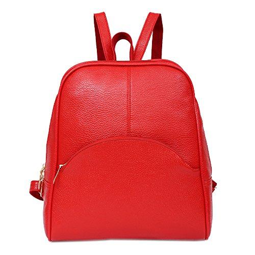 JJLIKER Women College School Student Backpack Leather Zipper Rucksack Satchels Shoulder Pack Fashion Travel Bag