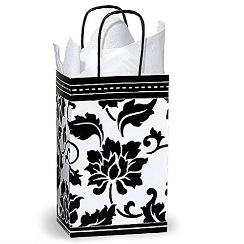 Floral Brocade Paper Shopping Bags - Rose Size - 5 1/4 x 3 1/2 x 8 1/4in. - 200 Pack by NW
