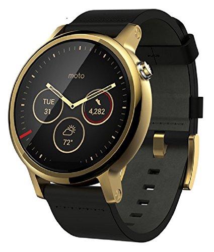 Motorola MOTO 360 2nd Gen 42mm Wi-Fi + Bluetooth Smartwatch - Gold Bezel - Gold Case - Black Leather Band (Certified Refurbished)