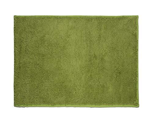 Tapete Banho Mini Chenille, Etna, 85% Poliéster e 15% Poliamida, Verde, 50 x 70 cm