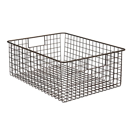 mDesign Wire Organizing Storage Basket with Built-In Handles - 16'' x 12'' x 6'', Bronze by mDesign (Image #4)
