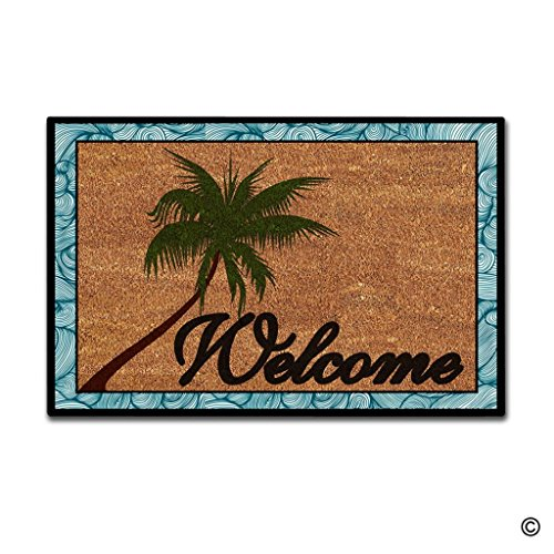 Outdoor Coconut Palm Tree (MsMr Doormat Entrance Floor Mat Beach Coconut Palm Tree Welcome Non-slip Doormat 23.6 by 15.7 Inch Machine Washable Non-woven Fabric)