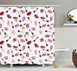 Pink and Burgundy Shower Curtain Ambesonne Cosmetics Shower Curtain, Beauty Theme Pink and Burgundy Lipstick and Kiss Pattern Makeup Concept, Fabric Bathroom Decor Set with Hooks, 70 Inches, Burgundy and Pink