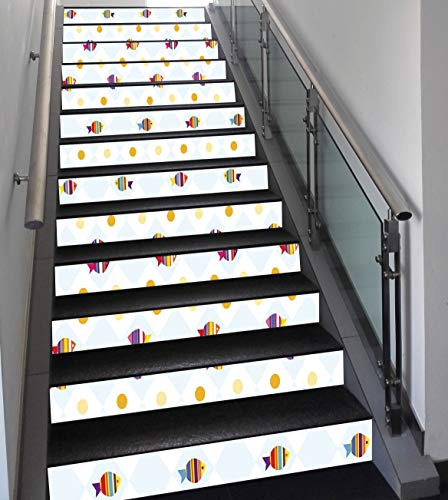 Stair Stickers Wall Stickers,13 PCS Self-adhesive,Cartoon,Aquarium Themed Fish Cartoons with Spots and Lines Geometrical Backdrop Art Print,Multicolor,Stair Riser Decal for Living Room, Hall, Kids Roo