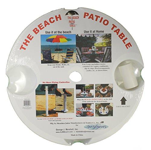 Table Umbrella Clamp (The Beach - Patio Table, 18 Inch Diameter , White)