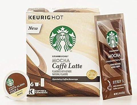 Starbucks Mocha Cafe Latte 6 Keurig K-Cups + 6 Froth Packets - 2 Step System