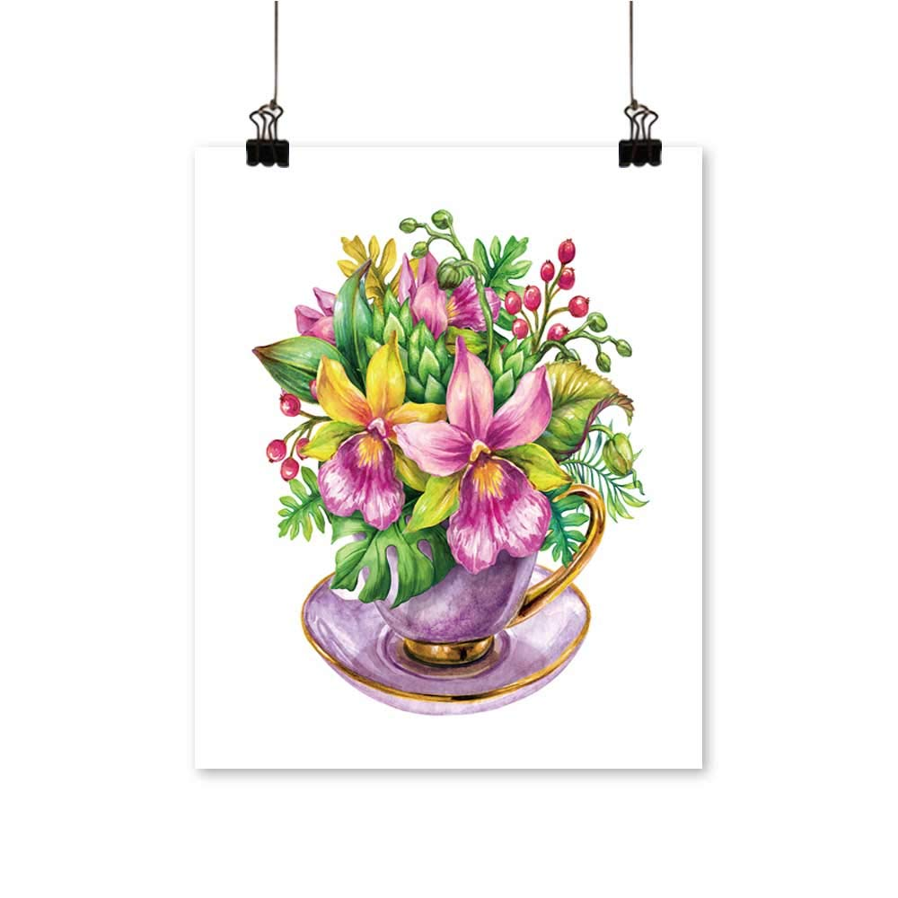 Canvas Painting Orchids Flowers Bouquet Leaves Tea Nature Clip Art Artwork for Living Room Decorations,28''W x 52''L/1pc(Frameless) by painting-home