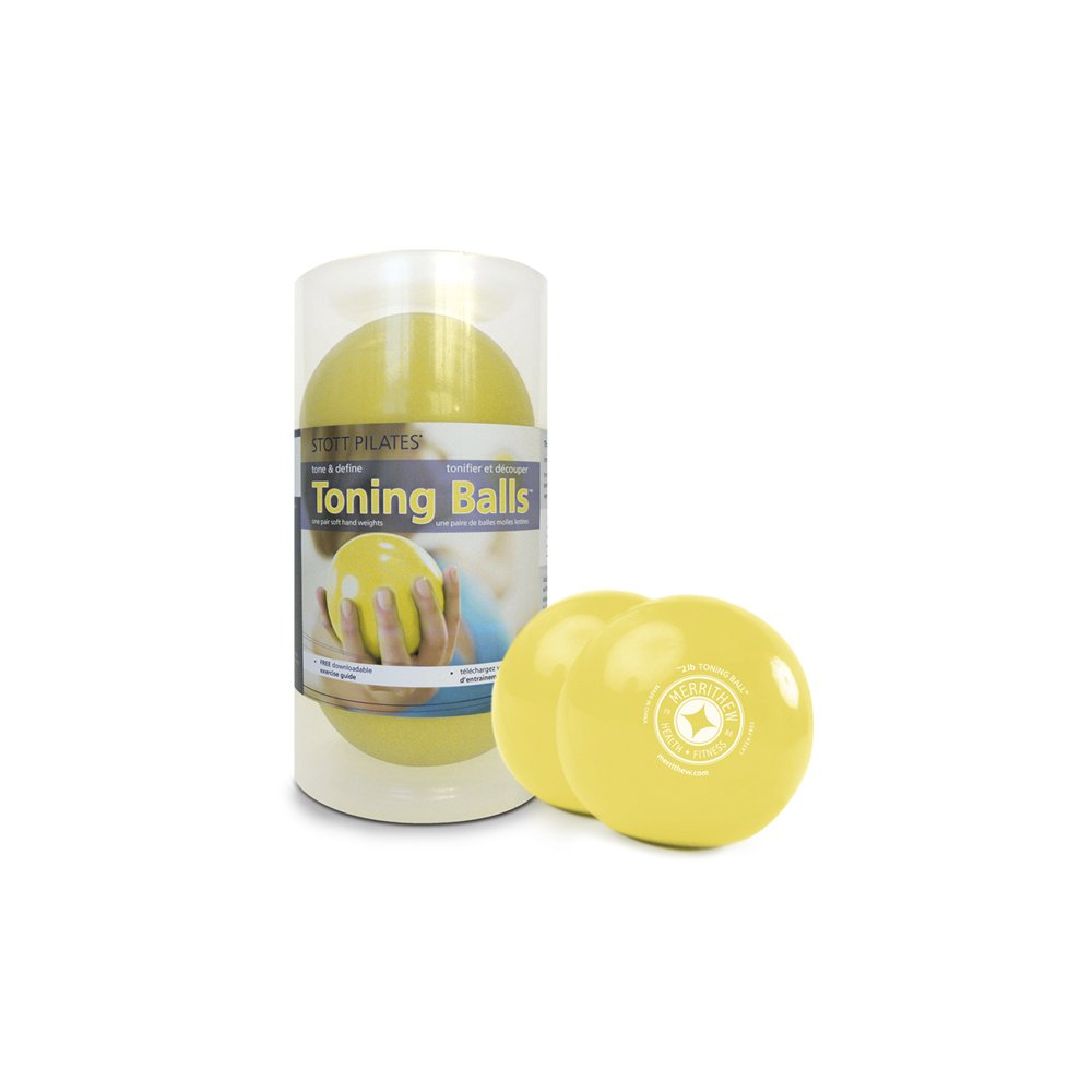 STOTT PILATES Toning Ball, Two-Pack (Lemon), 2 lbs / 0.9 kg each
