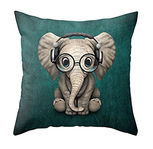 MFGNEH Home Decor Cotton Linen Pillow Covers 18x18, Cute Elephant Wearing Glasses Throw Pillow Case Cushion Cover for Sofa,Elephant Decor