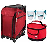 Zuca Pro Travel Case (Ruby Red/Silver Frame) with Pouch Set and Built-In Seat, with Gift Lunchbox and Mug Set