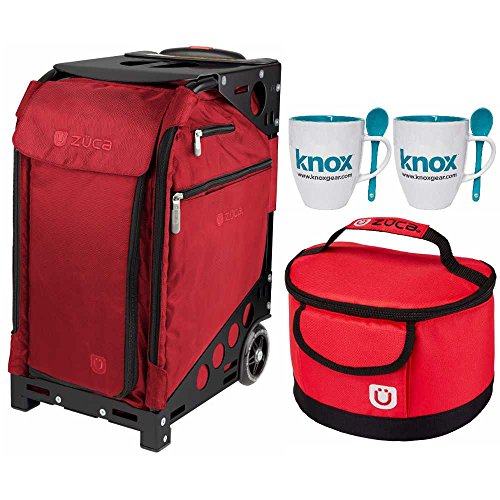 Zuca Pro Travel Case (Ruby Red/Silver Frame) with Pouch Set and Built-In Seat, with Gift Lunchbox and Mug Set by ZUCA