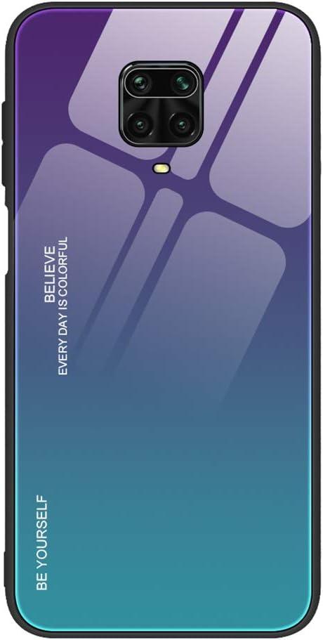 HAOYE Funda para Xiaomi Redmi Note 9S/Note 9 Pro Fundas, Tapa Trasera de Cristal Templado Resistente a Arañazos, Carcasa Protectora de Parachoques de TPU Silicona Fundas Case Cover(3)