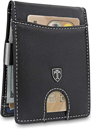 TRAVANDO Slim Wallet with Money Clip SEATTLE RFID Blocking Card Mini Bifold Men (Black & White)