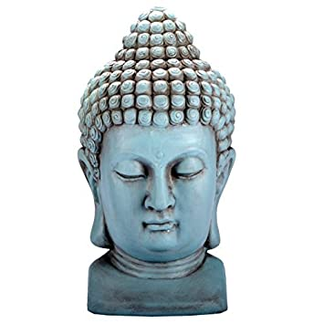 Buddha KOPF Figur Dekoration Innendekoration Feng Shui Stein Deko (Türkis)
