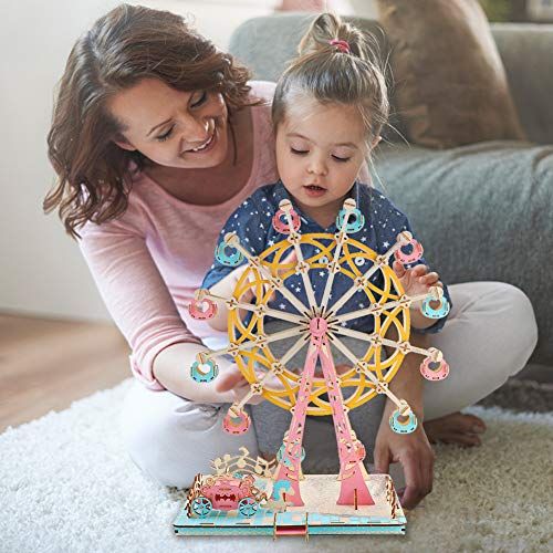 AMOR PRESENT Wooden Ferris Wheel 3D Wooden Puzzle Wooden Building Kit for Birthday Present, Thanksgiving Gift, Valentines Day Gift, New Year Gift