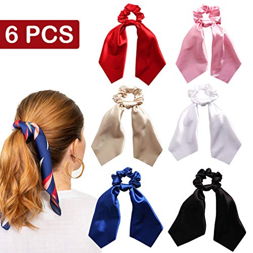 - 6 Pcs Hair Scrunchies Satin Silk Elastic Hair Bands Hair Scarf Solid Color Ponytail Holder Scrunchy Ties Vintage Accessories for Women Girls