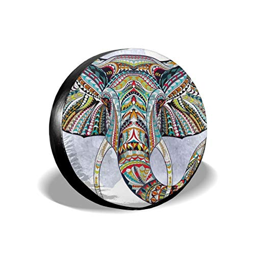 - Spare Tire Cover, Watercolor Elephant Totem Printing Wheel Protectors PVC Waterproof Dustproof for Jeep Trailer SUV RV and Many Vehicles(14,15,16,17 Inch)