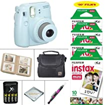 Fujifilm Instax Mini 8 Camera Blue + VALUE BUNDLE for Fujifilm Instax Mini 8 Camera Includes; Fujifilm Instax Instant Film FIFTY SHEETS + Battery & Charger + Photo Album + Case + MORE