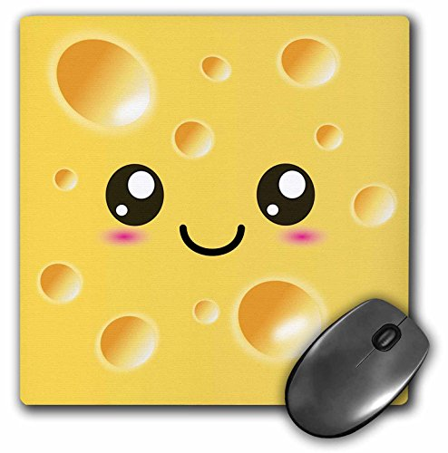 Adorable Mouse - 3dRose Cute Kawaii Happy Yellow Swiss Cheese with Holes a Smiley Face and Rosy Cheeks Adorable Foods Mouse Pad (mp_58324_1)