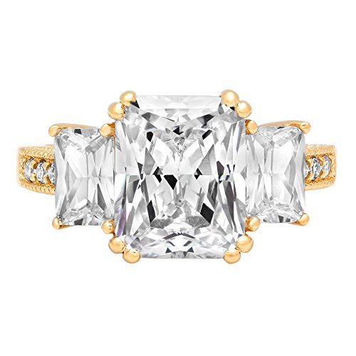 3 Stone Designer Ring - 4.25 ct Accent Three Stone Princess Brilliant Cut Simulated Diamond CZ Designer Bridal Wedding Band Ring in 14K Yellow Gold