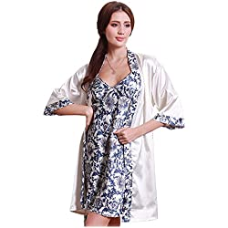Olivery Womens Gorgeous Faux Silk Sleepwear Loungewear Dress & Robe 2 Pcs Set Dark Blue,One Size