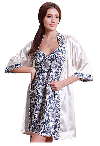 Olivery Womens Faux Silk Sleepwear, Gorgeous Floral Nightgown Bath Pajamas Set. Choose Your Favorite 2 Pcs Top