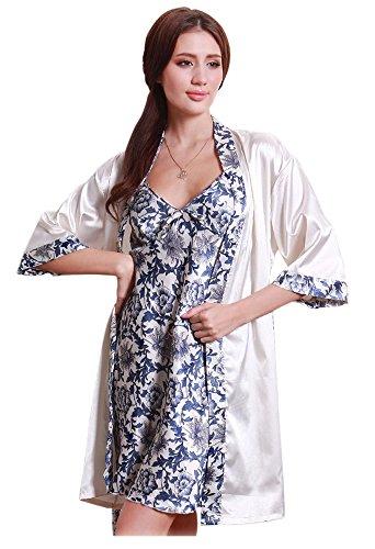 Olivery Womens Faux Silk Sleepwear, Gorgeous Floral Nightgown Bath Pajamas Set. Choose Your Favorite 2 Pcs Top