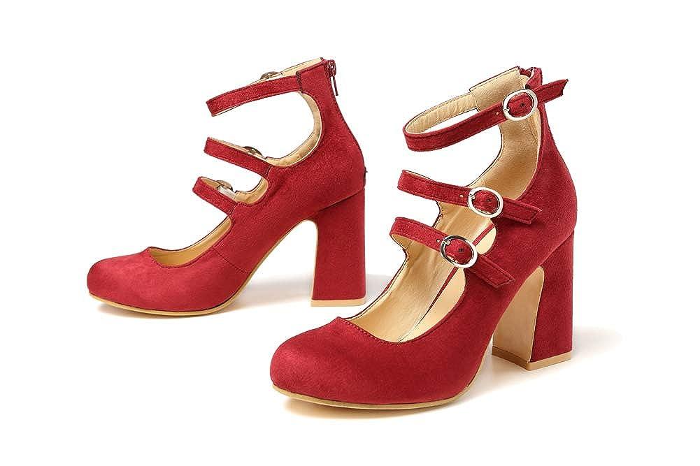 Damen Damen Damen Abend Block Ferse ein Wort elastische Schnalle mit runden Kopf dicken High Heels Volltonfarbe Gericht Schuhe ee9dc7