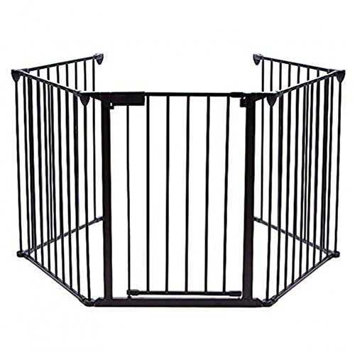 Lovinland Baby Gate with Easy Close Door Pet Gate 5 Panel Metal Gate Fireplace...