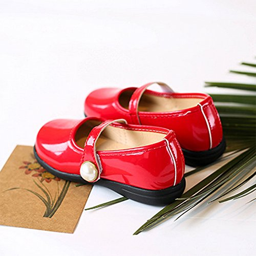 Toddler Girl Patent Leather Pearls Mary Jane Princess Dress Shoe Ballerina Flats Red Size 29 by LINKEY (Image #5)