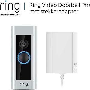 Ring Video Doorbell Pro met stekkeradapter, 1080p HD, tweerichtingsspraak, wifi, bewegingsdetectie | Inclusief proefabonnement van 30 dagen op Ring Protect Plus