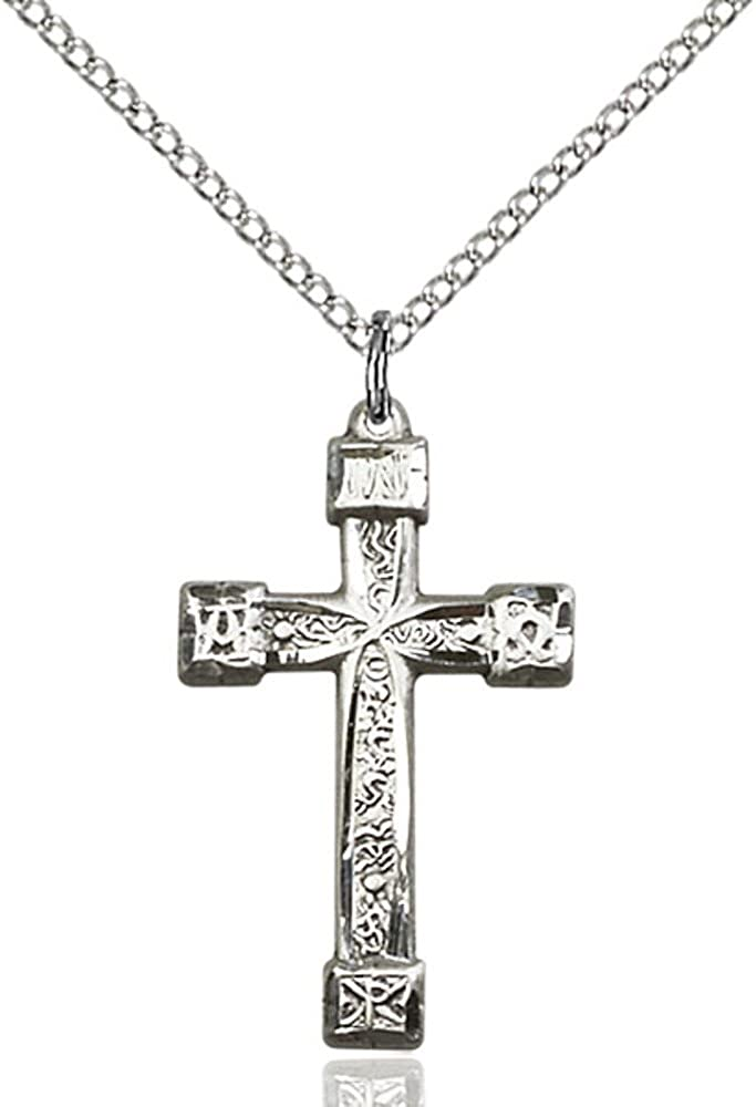 Bonyak Jewelry Sterling Silver Cross Pendant 1 x 5//8 inches with Sterling Silver Lite Curb Chain