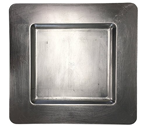 Luxurious Silver Heavy Duty Square Charger Event Silver Charger Plate (1)