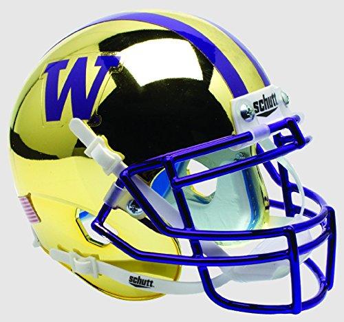 NCAA Washington Huskies Gold Chrome Mini Helmet, One Size, (Huskies Authentic Mini Helmet)