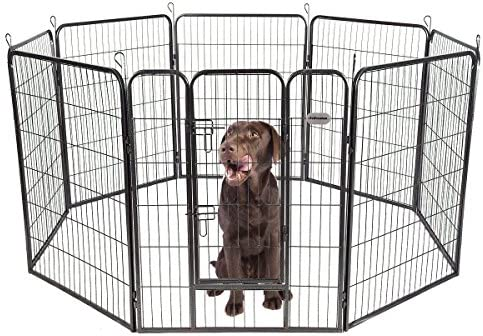 PetPremium Dog Pen Metal Fence Gate Portable Outdoor RV Play Yard Heavy Duty Outside Pet Large Playpen Exercise Indoor Puppy Kennel Cage Crate Enclosures 40 Height 8 Panel