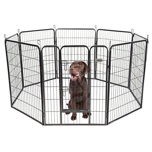 PetPremium Dog Pen Metal Fence Gate Portable Outdoor RV Play Yard | Heavy Duty Outside Pet Large Playpen Exercise | Indoor Puppy Kennel Cage Crate Enclosures | 40