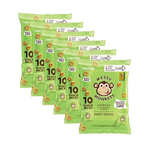 Messy Monkeys Apple & Cinnamon Flavored Whole Grain Bites - BULK CASE of 6 bags (Each with 10 Individual Single Serving 0.5oz Bags, 60 total)