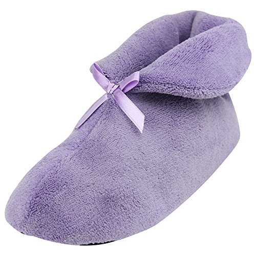Slip Bootie Cozy House Fleece Coral Shoes Winter Purple Women's Non Forfoot Indoor Slippers Warm 6zUUxF