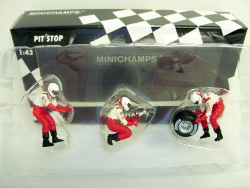 Minichamps 343100063 - Reifenwechsel Set Toyota 2002 ( 3 Figuren/ 1 Hinterrad )