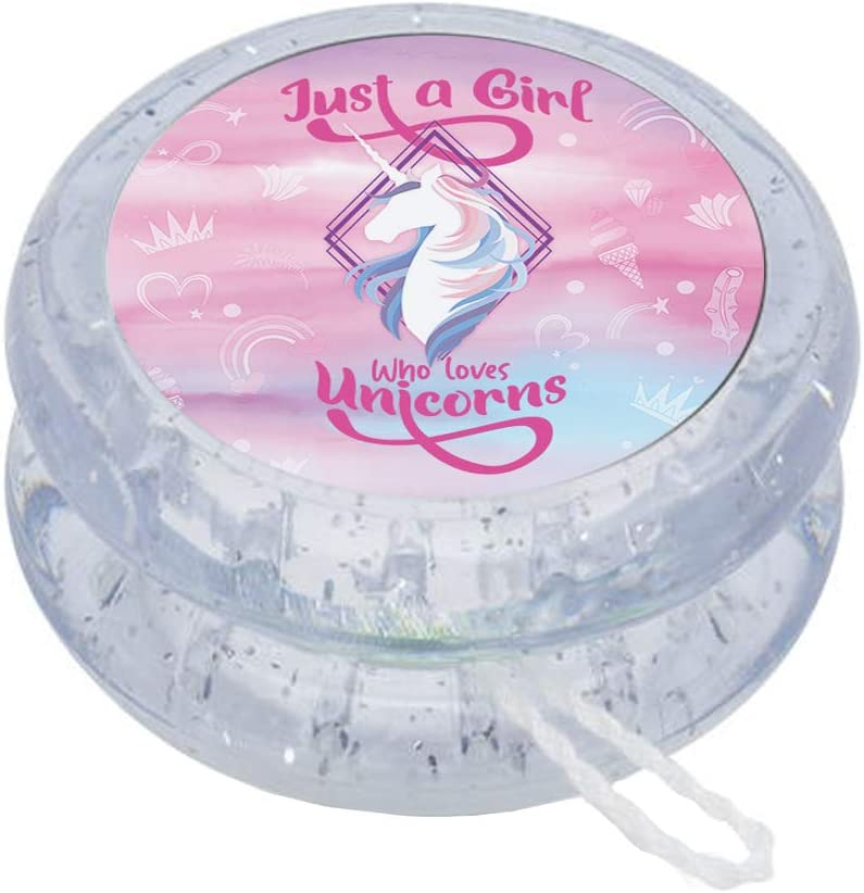 Getagift Just a Girls Who Loves Unicorns Rainbow Cloud Floral Horn Art Toddlers Baby Girl Birthday Present idea 41mm Spin Yo-Yo.