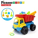 PicassoTiles PTT400 8pc Beach Toys Set Sand Box Toy Kit Combo BPA Free Safe for Kid w/ Car Dump Load Truck, Shovel, Rake, Fish Mold, Spaceship, Pull Bar, Water Gun & Can for Children Outdoor Fun Play