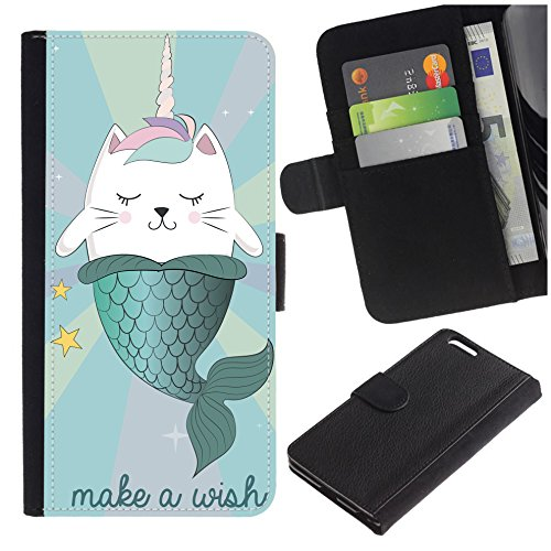 Colorful Pattern Flip Wallet Leather Holster Protective Skin Case for Samsung Galaxy S7 Edge (NOT for S7)/ S7 Edge Duos/G930 (Funny Cartoon Cat Costume Narwhal/Mermaid) -