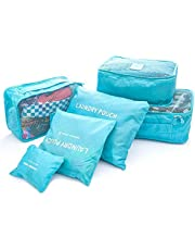6 قطع A مجموعة ماء السفر قماش التغليف مكعبات للنساء الرجال السفر دفل حقائب الملابس التعبئة, أزرق,