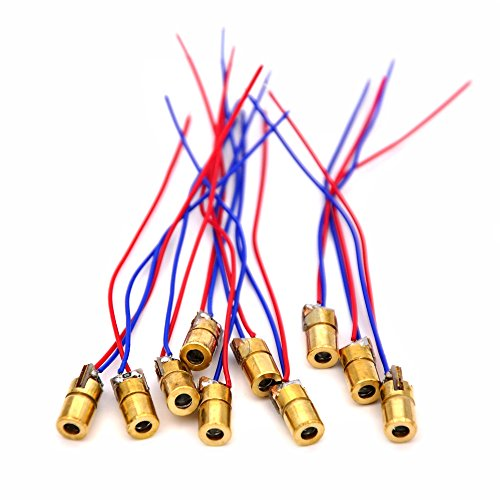 McIgIcM laser diode,10pcs 650nm 6mm 5V 5mW Adjustable Laser Dot Diode Module Red Copper Head (Laser Diode Pointer)
