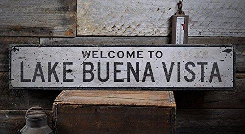Welcome to LAKE BUENA VISTA - Custom LAKE BUENA VISTA, FLORIDA US City, State Distressed Wooden Sign - 7.25 x 36 - Lake Vista Shops Buena