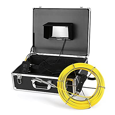 "Lixada Pipe Inspection Camera,50M Drain Pipe Sewer Camera IP68 Waterproof Industrial Endoscope Borescope Inspection System Snake Camera 7"" LCD Monitor 12 LEDs Night Vision with Guide Wheel"