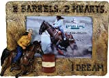 Picture Frame Cowboy Horse Back Riding Barrel Racer Hay Photo Display Holder Stand Cute Christmas Birthday Gift Western Accent