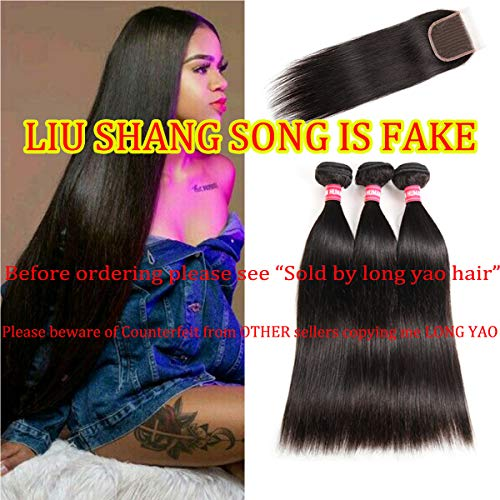 LONG YAO Brazilian Virgin Straight Human Hair 3 Bundles with 4 x 4 Lace Closure with Bundles Straight Human Hair Weave Natural Color(Straight 20 22 24+18 Closure, Straight Bundles with Closure) (Best Weave For Natural Hair)