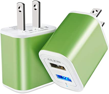 Portable USB Charger, 2.1A Dual Port Charging Block, Ailkin 2Pcs Wall Charger Adapter, Cargador para Compatible with Phone Xs Max XR X 8 Plus, pad ...